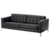 overstock black leather sofa