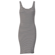liquidation black white strips dress