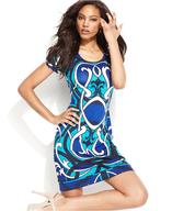 discount blue print dress