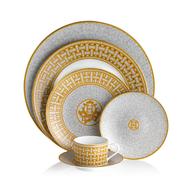 gold white dinner set suppliers