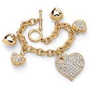 heart charm gold bracelet deals