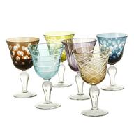 liquidation multi color wine glasses