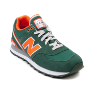 new balance green orange sneakers shelf pulls
