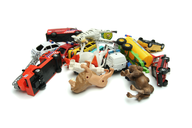 clearance pile of toys