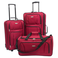 salvage red luggage assorted