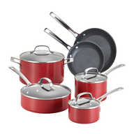 red pots pans set in bulk