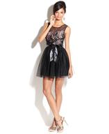 closeout sheer black pink bow dress
