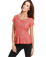 style&co top cap sleeve lace peplum top suppliers