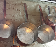 used silver cooper pans lots