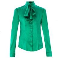 womens green satin blouse deals